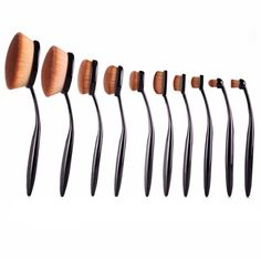 From highlighting to contouring, this 10 piece set gives you so many options for doing your makeup. The brushes have a round shape design that's perfect for blending foundation, blush, or powder to your face or cheeks. With so many different sized brushes to choose from, you can achieve any look you want!