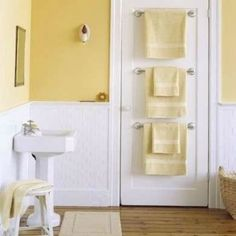 10 Ways to Squeeze a Little Extra Storage Out of a Small Bathroom Bathroom Storage Ideas - Storage For Small Bathrooms Bathroom Doors, Bathroom Towels, Master Bathroom, Towel Racks For Bathroom, White Bathroom, Yellow Bathroom Decor, Glass Bathroom, Bathroom Mirrors, Best Bathroom Colors