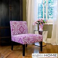 @Overstock.com.com.com.com.com.com - Add an elegantly bold look to any room with this fashionable armless chair. It features an eye-catching demask print in bright purple for a look that is sure to create a unique focal point when combined with virtually any home decor. $144.99