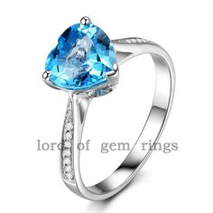 Heart Shaped 8mm Blue Topaz H/SI Diamonds 14K White Gold Engagement Wedding Ring #LOGR #SolitairewithAccents