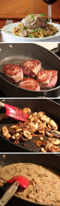 Filet Mignon with Stroganof Sauce   Click Pic for 22 Easy Romantic Dinner Recipes for Two   Easy Valentines Dinner Ideas for Him