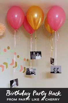 Birthday Party Ideas - Party Like a Cherry birthday party balloon hack, such an easy and cheap way to make a big statement!birthday party balloon hack, such an easy and cheap way to make a big statement! 70th Birthday Parties, Mom Birthday, Happy Birthday Cards, Card Birthday, Birthday Greetings, Balloon Birthday, 60th Birthday Ideas For Mom Party, 18th Birthday Party Ideas Decoration, Birthday Outfits