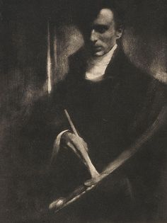 """""""Self-Portrait with Brush and Palette"""" 1902 by Edward Steichen (American 1879 – Process: Gum bichromate print. A Current Location: Alfred Stieglitz Collection Edward Steichen, Alfred Stieglitz, The Dark Side, Famous Photographers, Art Institute Of Chicago, Ansel Adams, Museum Of Modern Art, Art Museum, Magazine Art"""