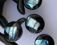 Bathroom ---4 dichroic GLASS CABINET KNOBS drawer pulls fused kitchen bathroom rainbow