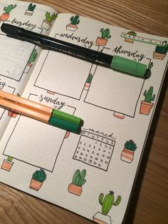 Bullet journal weekly spread, cactus theme - Brenda O. Bullet Journal Planner, March Bullet Journal, Bullet Journal Monthly Spread, Bullet Journal Notebook, Bullet Journal Ideas Pages, Bullet Journal Inspo, Bullet Journal Ideas Handwriting, Bellet Journal, Journal Layout