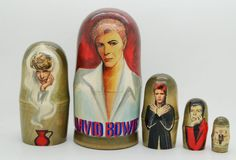 EXCLUSIVE David Bowie Nesting Dolls 5pc matryoshka doll  free shipping