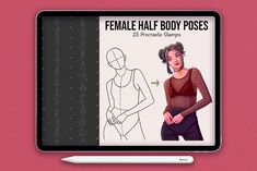 25 Realistic Half Body Poses Stamps by SmuffizStudio on @creativemarket Brush Watercolor, Brushes Free, Skin Color Palette, Color Palettes, Best Procreate Brushes, Drawing Female Body, Cartoon Eyes, Colors For Skin Tone, Affinity Designer