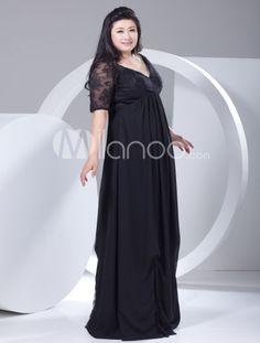 2013 Style Elegant Black Chiffon Lace Half-Sleeve Plus Size Evening Dress - Milanoo.com