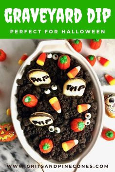 "Halloween Graveyard Chocolate Cheesecake Dip recipe is an EASY, kid-friendly Halloween treat. And, this easy no-bake Halloween recipe for kids can be on the table in less than 15 minutes. Goblins both big and little will love walking in the ""graveyard"" and stopping to chat with a friendly ghost or have a bite of this decadent Halloween dip!"