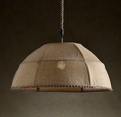 Burlap ceiling lamp                                              #lighting #furniture #home