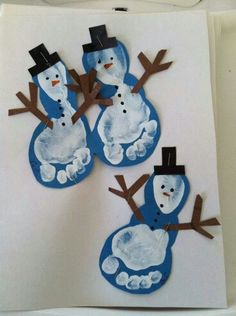 Snowmen Feet Christmas Cards Or Decorations With Footprints   Great Kidsu0027  Craft