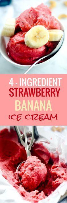 4-Ingredient Strawberry Banana Sorbet