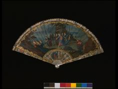 Brisé fans were popular through the late 17th century and early 18th. They had no fan leaf. They were made of sticks held together with a silk cord or ribbon.  Some brisé fans accentuated the elaborate carving of the sticks. Others, like this example, were as pictorial as those made with a painted fan leaf.  The fan painter has illustrated this fan with The Finding of Moses, using rich colours and composition associated with the Baroque style.