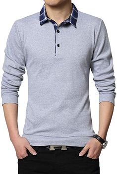 8a726088 FRTCV Mens Polo Shirts Casual Long Sleeve Plaid Slim Fit Shirt US L/Asian  3XL Light Gray 3009 at Amazon Men's Clothing store: