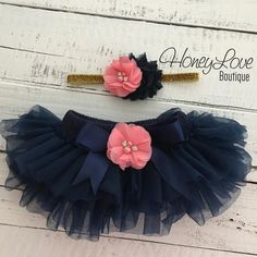 SET Navy Blue tutu skirt ruffle bloomers diaper cover, Coral pink flower gold glitter headband hair bow, rhinestone pearl flowers, newborn infant toddler baby girl photo shoot prop newborn photography 1st birthday by HoneyLove Boutique