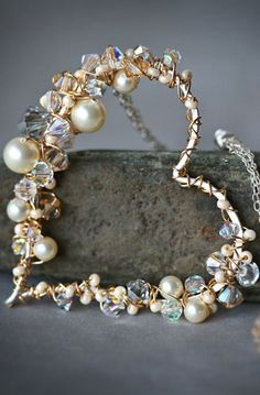 Pearl and Crystal Encrusted Sterling Gold Wire Wrapped Heart Lariat