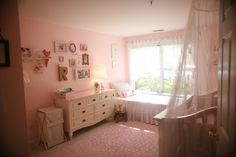 This baby girl nursery is magical! Love the @The Land of Nod rug. #nursery