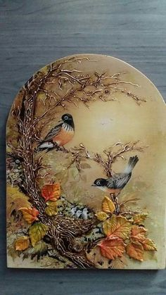 Lovely fall decor - confused by the baby birds though, as that should be spring. Sculpture Painting, Tole Painting, Painting On Wood, Plaster Art, Decoupage Art, Paperclay, Mural Art, Texture Painting, Bird Art