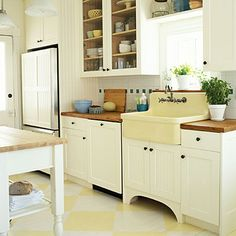 Farm Kitchen Remodeling Ideas: Cabinets with Character # cultivateit    Love the open cabinets up top and farm sink