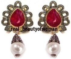 Vintage Style 2.89cts Rose Cut Diamond Pearl Ruby Wedding Awesome Earring Dangle #realbeautyowoman