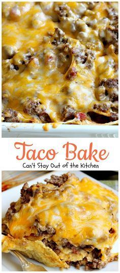 Bake This amazing Tex-Mex casserole is filled with a tasty beef mixture, cheese and tortilla chips. Taco Bake is gluten […]This amazing Tex-Mex casserole is filled with a tasty beef mixture, cheese and tortilla chips. Taco Bake is gluten […] Beef Dishes, Food Dishes, Main Dishes, Great Recipes, Favorite Recipes, Recipes Dinner, Dinner Casserole Recipes, Casserole Ideas, Dinner Recipes Easy Quick