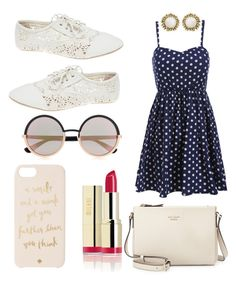 """""""dotted darling"""" by isabellaobrien14 ❤ liked on Polyvore featuring Wet Seal, Kate Spade, Kendra Scott and Marc by Marc Jacobs"""