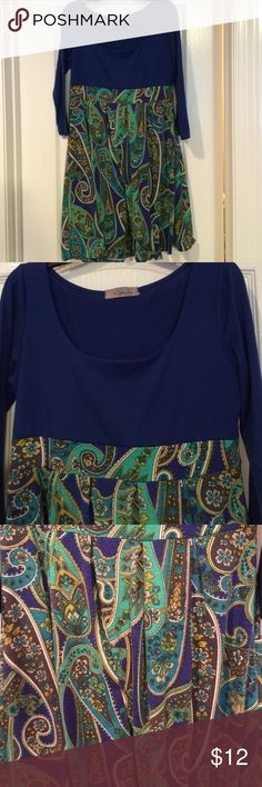Adorable Blouse Beautiful blouse, royal blue color with paisley print in bottom. Bought from local site but didn't fit. Ophelia Tops Blouses