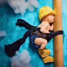 Crochet  Baby Construction Worker/Lineman Photo Prop Set