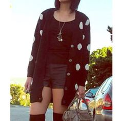 Dot Cardigan Long cardigan with all over dots. Ribbed at bottom hem and sleeve cuffs. H&M Sweaters Cardigans