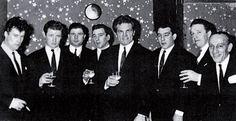 .. (From left) Teddy Smith, Micky Fawcett, Johnny Davis, Reggie Kray, Freddie Mills, Ronnie Kray, Dicky Morgan and Sammy Lederman at Freddie Mills' Nite Spot ..
