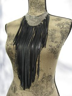Chainmaille Leather Fringe Bib Necklace Choker by Vacationhouse, $98.00