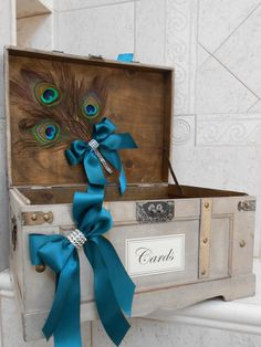 Peacock Wedding Trunk / Card Box / Peacock Feather Themed Wedding / Wedding Card…