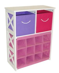"X-Frame Kids Storage W/ 2-Pastel Bins & 12-Slot Cubby by RiverRidge Kids. $79.51. Large capacity bins for storing toys, games, art/craft supplies, clothes and more!. Each cubby slot is 5.5""w x 5""h. X-frame design storage cabinet includes 2 folding storage bins and 12 slot cubby storage. This is a versatile Storage unit with a four slot cubby to hold shoes, toeys, stuffed animals, and more. Use it in the kids room, playroom, family room, or entryway. The shelves can also ..."