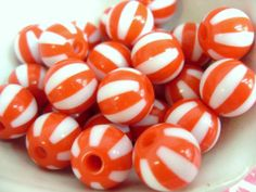 20x 12mm Resin Watermelon Globe beads in pillarbox by CuteCornwall, £2.25