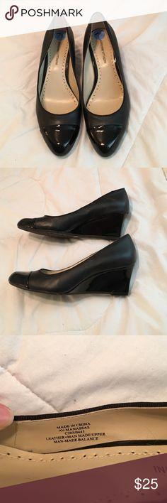 Adrienne VIttadini black wedges Black leather wedges. New with out tags. Adrienne Vittadini Shoes Wedges