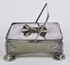 Antique Ornate Silver Plate SARDINE DISH with TONGS c.1900 M13