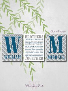 baby boy nursery decor, Brothers, Twins Canvas wall art by WillowLanePrints