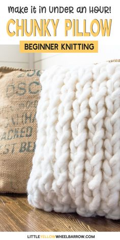 A simple chunky knit pillow cover that you can create in under an hour to jazz up old cushions. This pattern is free and makes a perfect project for beginner knitter looking to expand their skill. No difficult stitches, or counting rows! If you can knit and purl you're already there.  Made with thick and chunky  jumbo yarn these cushion covers knit up super quick. If you're a new knitter and want a fun yarn project, this knitting pattern is for you!