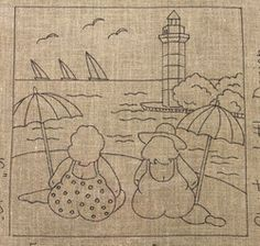T T two larger ladies and lighthouse sailing ships Applique Templates, Applique Patterns, Applique Quilts, Embroidery Applique, Cross Stitch Embroidery, Machine Embroidery, Embroidery Designs, Fabric Postcards, Rug Hooking Patterns