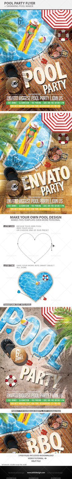 Pool Party Flyer is the perfect flyer for your upcoming summer events. It's not just flyer, it is a template made by smart objects that allows you to change the look of how it suits you.Starting from modifying the text, moving all the elements containe…
