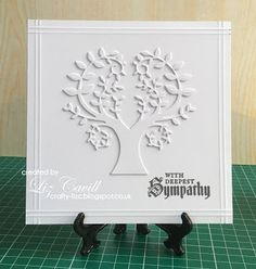 handmade sympathy card from Crafty Sunflower: Twofer Trees ... for several challenges ... white on white ... Tree of Wonder die by Memory Box cut twice and layered for extra depth and shadows ... hand scored lines frame it all ... Challenge Week, Room Doors, Frame It, Sympathy Cards, Shadows, Stencils, Bloom, Challenges, Trees
