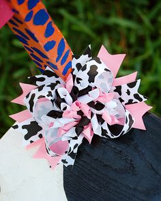 Pink Cow Print Boutique Korker Bow. $13.00, via Etsy.
