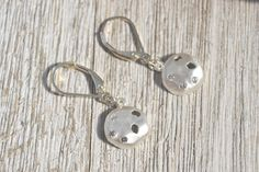 Silver Hammered Dome Earrings with Zirconia, Brushed Silver Disc Earring, Small Disc Earrings, Dangle Disc Earrings Anniversary Gift for Her by ESBeadworks on Etsy