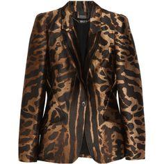 Alexander McQueen Ocelot-jacquard satin-twill blazer ($1,649) ❤ liked on Polyvore