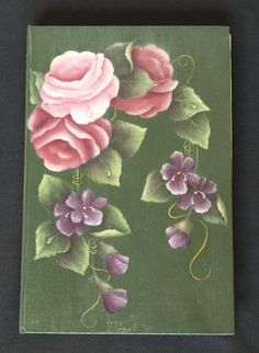 Handpainted Dewey Roses and Violets - Notebook. $10,00, via Etsy.