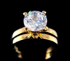 2.75 ct Lab Simulated Diamond Engagement Ring Yellow Gold Plated Size 6. See it here and buy it here.