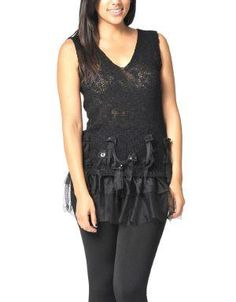 (CLICK IMAGE TWICE FOR DETAILS AND PRICING) Embellished Tutu Vest Black. This feminine vest features a sequined tulips embellished on the front and two layers of ruffles at the hem. Balance its girliness by pairing it with skinny jeans.. See More Coats and Jackets at http://www.ourgreatshop.com/Coats-and-Jackets-C76.aspx