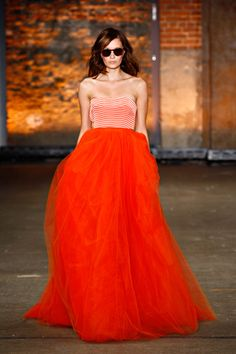 fluffy orange skirt - Christian Siriano