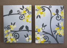 Wall Art Yellow Grey Flowers and Birds di MurrayDesignShop su Etsy