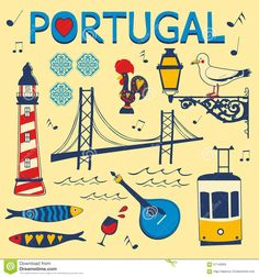Immagine vettoriale stock 239529610 a tema Portugal Tipical Icons Collection Vector Illustration (royalty free) Algarve, Portuguese Tattoo, Learn Portuguese, Map Painting, Travel Illustration, Portugal Travel, Tips & Tricks, Vintage Travel Posters, Symbols
